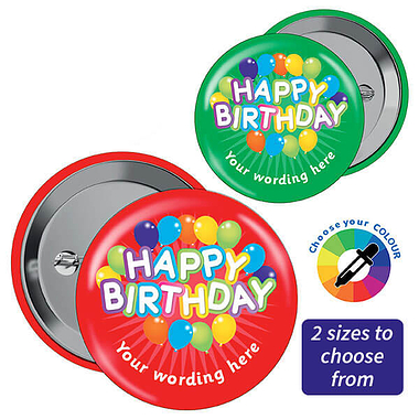 Personalised Happy Birthday Badges (10 Badges)