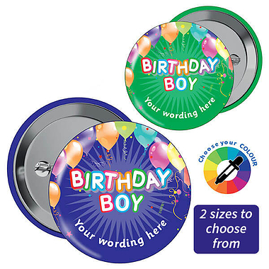 Customised Birthday Boy Badges (10 Badges)