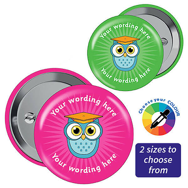 Customised Owl Badges - Pink (10 Badges)