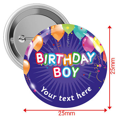 Customised Happy Birthday Balloons Badges - Boy (10 Badges - 25mm)
