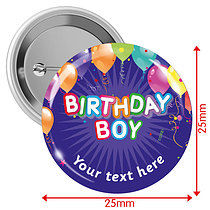 Personalised Happy Birthday Balloons 25mm Badges Pack of 10