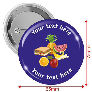 Personalised Lunch Badges (10 Badges - 25mm)