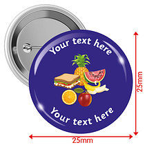 Personalised Lunch 25mm Badges Pack of 10