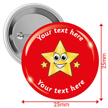 Customised Gold Star Badges - Red (10 Badges - 25mm)
