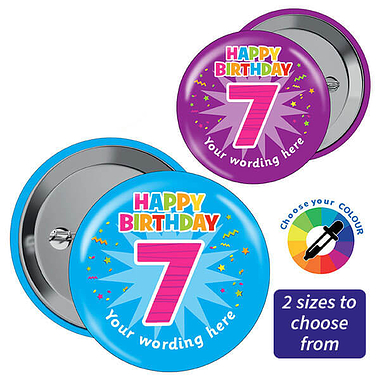 Customised Happy 7th Birthday Badges (10 Badges)