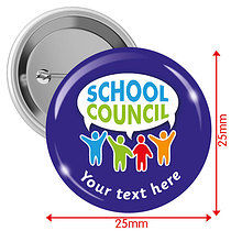Personalised School Council 25mm Badges Pack of 10