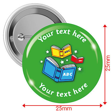 Personalised Reading 25mm Badges Pack of 10