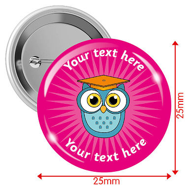 Personalised Owl Badges - Pink (10 Badges - 25mm)