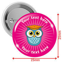 Personalised Owl 25mm Badges Pack of 10