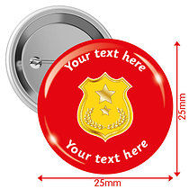 Personalised Shield 25mm Badges Pack of 10