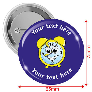 Personalised Clock 25mm Badges Pack of 10