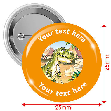 Personalised T-Rex 25mm Badges Pack of 10
