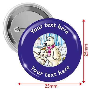 Personalised Polar Bear 25mm Badges Pack of 10