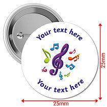 Personalised Music 25mm Badges Pack of 10