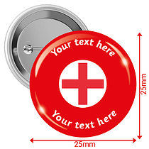 Personalised First Aid 25mm Badges Pack of 10