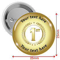 Personalised Gold 1st 25mm Badges Pack of 10