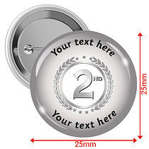 Personalised Silver 2nd 25mm Badges Pack of 10
