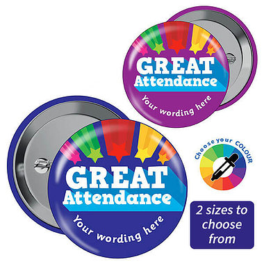 CUSTOMISED Great Attendance Badges (10 Badges)