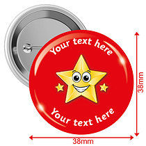 Personalised Gold Star 38mm Badges Pack of 10