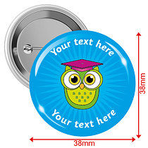 Personalised Owl 38mm Badges Pack of 10