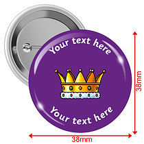 Personalised Crown 38mm Badges Pack of 10