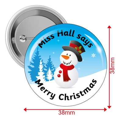 Personalised Merry Christmas Snowman Badges (10 Badges - 38mm)