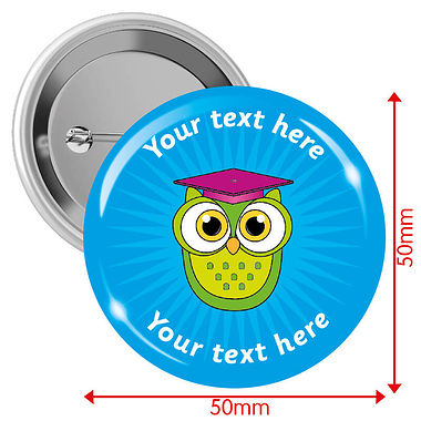 Personalised Owl 50mm Badges Pack of 10