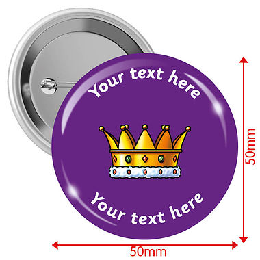 Personalised Crown Badges (10 Badges - 50mm)