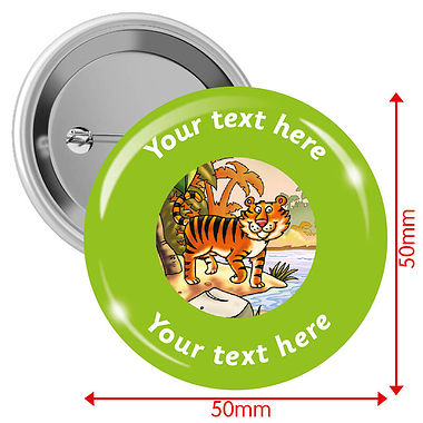 Personalised Tiger 50mm Badges Pack of 10