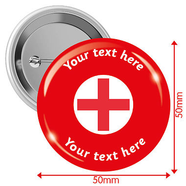 Personalised First Aid Badges (10 Badges - 50mm)