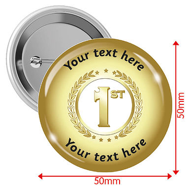 Personalised Gold 1st Badges (10 Badges - 50mm)