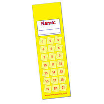 Set of 8 Personalised Yellow 59mm x 210mm Card Bookmarks