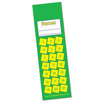 Set of 8 Personalised Green 59mm x 210mm Card Bookmarks