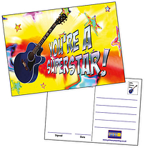 Pack of 20 You're a Superstar Guitar A6 Postcards Home