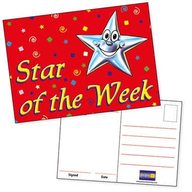 Star of the Week Red A6 Postcards x 20