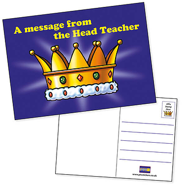 Pack of 20 Head Teacher's Award Crown A6 Postcards Home