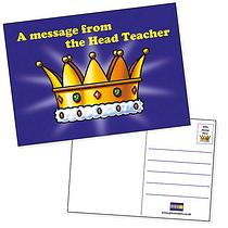 Pack of 20 Head Teacher's Award Crown A6 Postcards Home