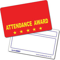 Personalised Plastic Attendance Award Certificard