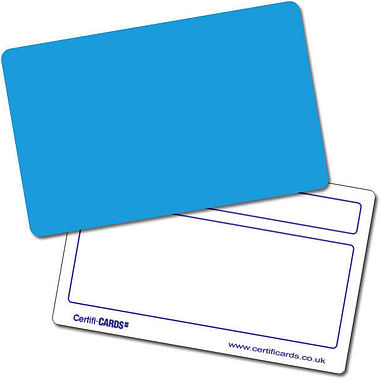 Customised Blank Plastic Certificard - Blue (86mm x 54mm)