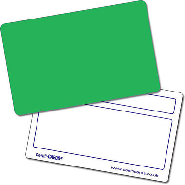 Customised Blank Plastic Certificard - Green (86mm x 54mm)