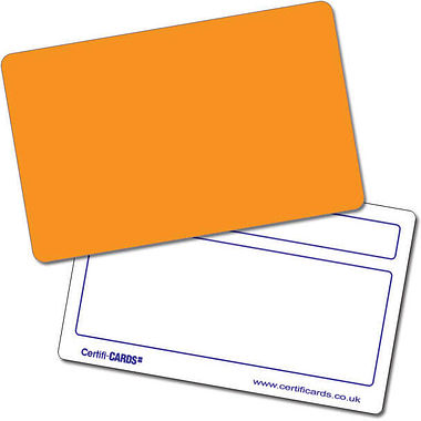 Customised Blank Plastic Certificard - Orange (86mm x 54mm)