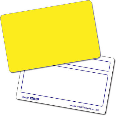 Personalised Blank Plastic Certificard - Yellow (86mm x 54mm)