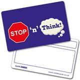Personalised Stop n Think Plastic CertifiCARD (86mm x 54mm)