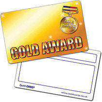 Personalised Plastic Gold Award Certificard