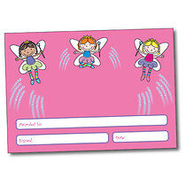 Set of 4 Personalised A5 Pink Fairy Certificates