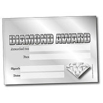 Set of 4 Personalised A5 Diamond Award Certificates