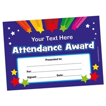 A5 PERSONALISED Attendance Award Certificate