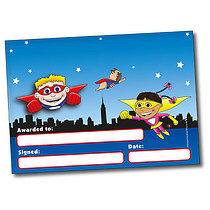 Set of 4 Personalised A5 Superheroes Certificates