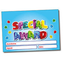 Set of 4 Personalised A5 Blue Special Award Certificates