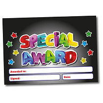 Set of 4 Personalised A5 Black Special Award Certificates
